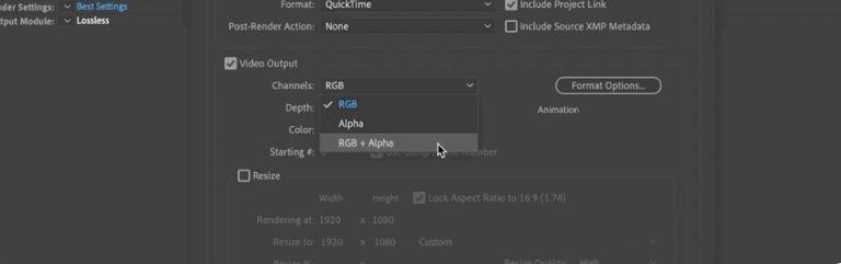 como exportar en after effects - RGB + Alpha