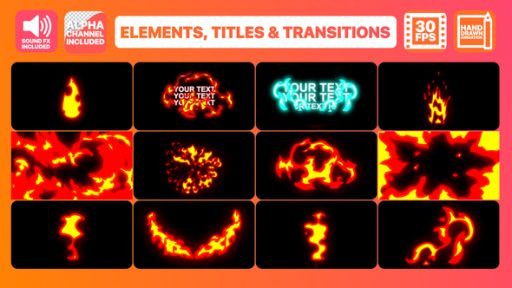 Fire Elements Titles And Transitions | After Effects