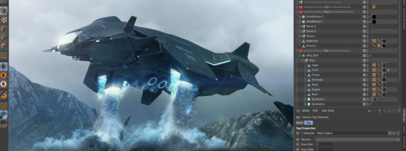 nave espacial hecha en Cinema 4D